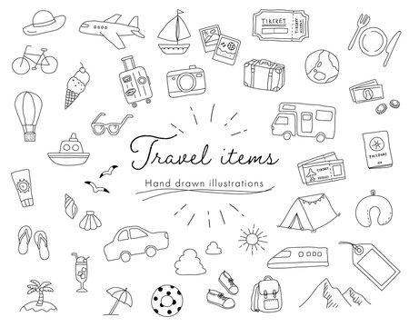 旅行の手書きのイラストのセット/おしゃれ/旅/トラベル/観光/レジャー/夏/冬/かわいい