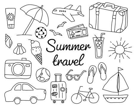 夏旅行の手書きのイラストのセット/おしゃれ/旅/トラベル/観光/夏休み/海/ビーチ/かわいい