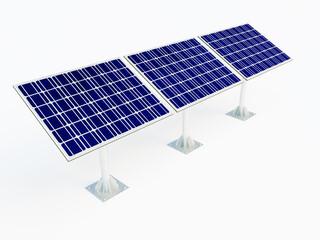 Three solar panels on white