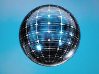 Solar panel sphere over sky