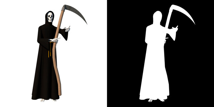 Grim reaper with sickle Front 1  white background alpha png 3D Rendering Ilustracion 3D