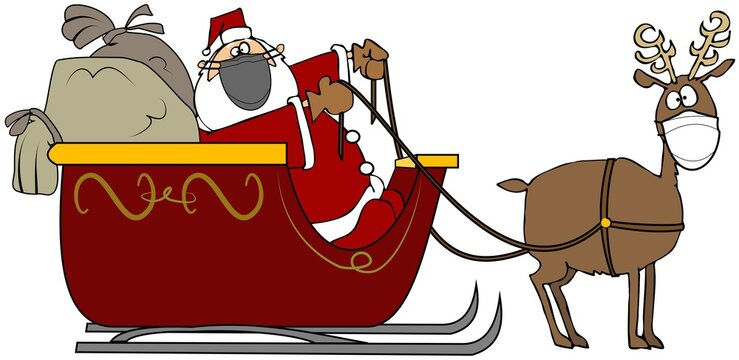 Santa's sleigh pulled by one reindeer wearing a face mask