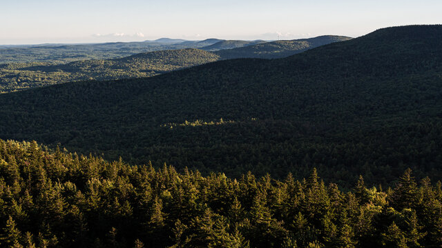 Standing on the cliff edge on North Pack Monadnock looking south over the Wapack Range in southern New Hampshire