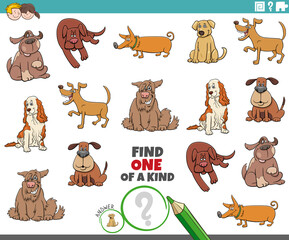 one of a kind task for children with dogs