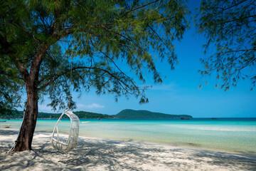 Saracen Bay beach in Koh Rong Samloen island near Sihanoukville in Cambodia
