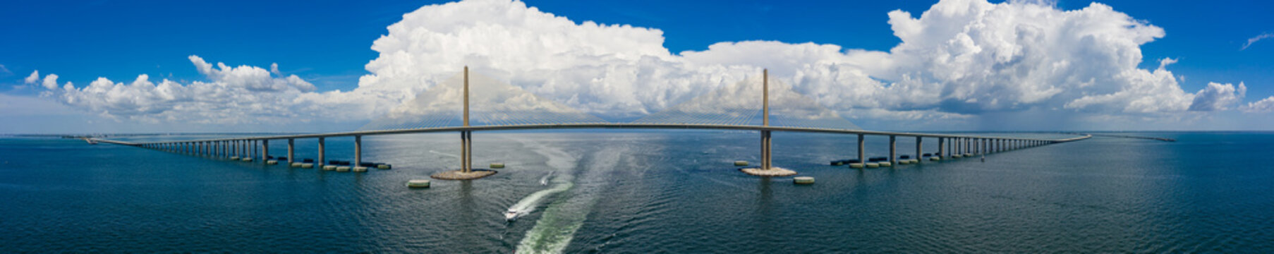 Aerial panoramic photo Sunshine Skyway cable suspended bridge suspension Tampa Bay FL USA