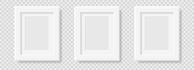 Mockup realistic rectangular  picture or photo frame black color isolated on transparent background for your design. Format A 4. Vector illustration. EPS10