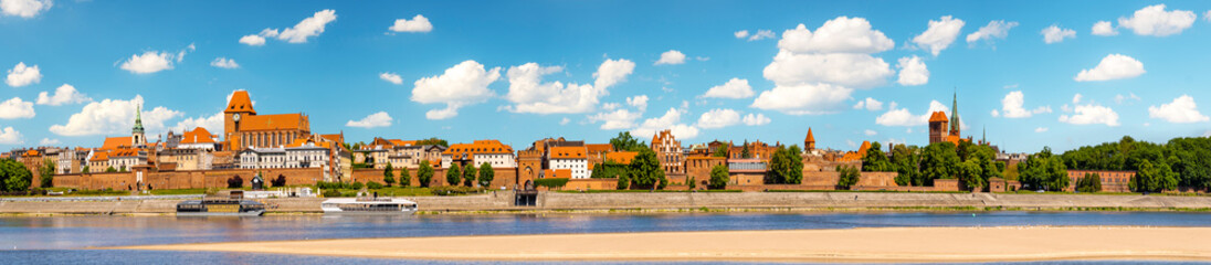 Panorama of the historic old town in Torun on a beautiful sunny day