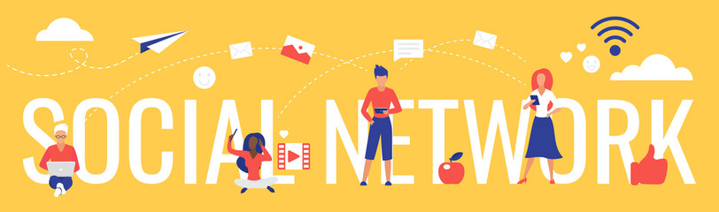 Social network lettering vector illustration. Cartoon flat concept with user people using smartphone, tablet or laptop for networking, communication in social media, internet technology background