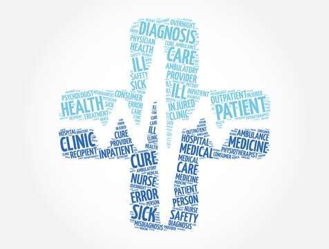 Patient cross word cloud collage, health concept background