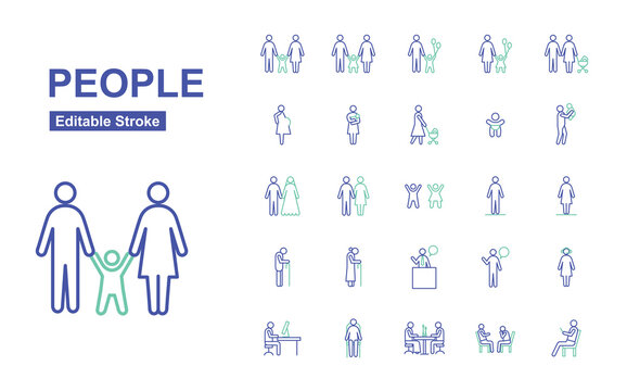 People Thin Line Icons. Editable Stroke. Vector Illustration Flat Design.