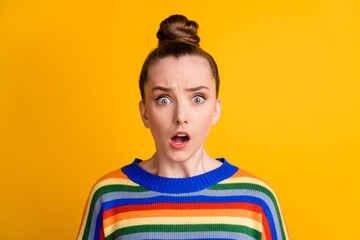 Portrait of astonished girl cant believe unexpected news wear good look pullover isolated over bright color background