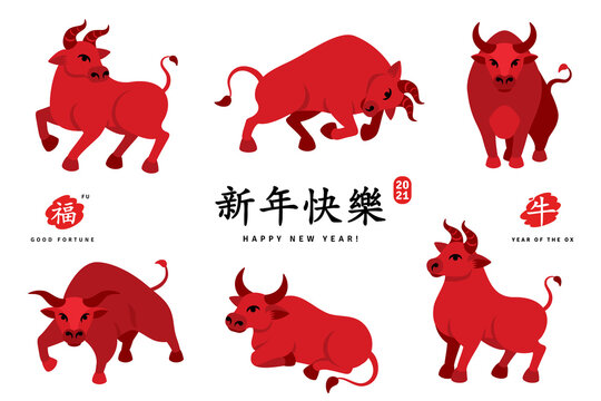 Set of Red Ox 2021 characters isolated on white. Vector illustration. Chinese Title Happy New Year, symbol in red stamp means Bull, hieroglyph Fu above means Good luck, below - Zodiac sign Ox