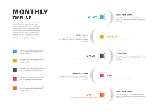 Rounded infographic timeline layout with colored squares, 5 options business template