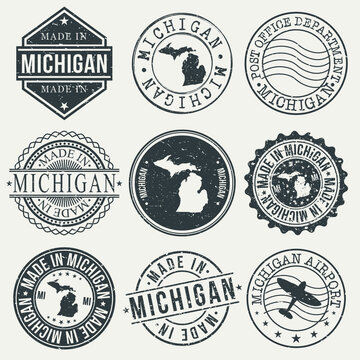 Michigan Set of Stamps. Travel Stamp. Made In Product. Design Seals Old Style Insignia.