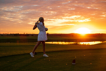 Professional Player Woman Play Golf .