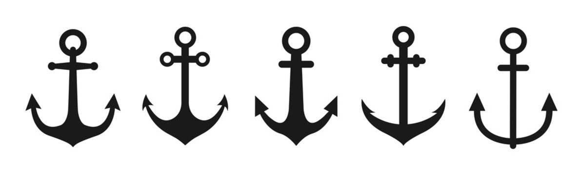 Set of anchor icon vector illustration