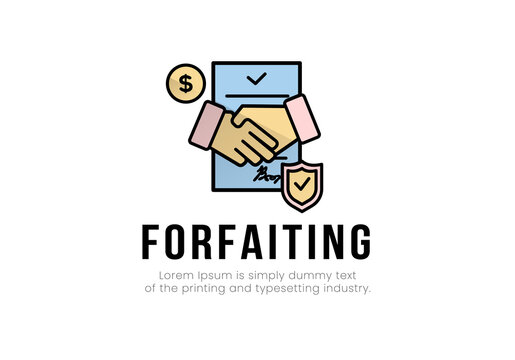 Finance. Vector illustration logo forfaiting. On the background of the document, a handshake, on the sides a dollar coin, a sign of protection, the inscription forfaiting