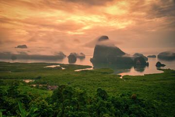 Wall Mural - Landscape image of Phang Nga Bay in Samed Nang Chee viewpoint at sunrise, Phang Nga, Thailand