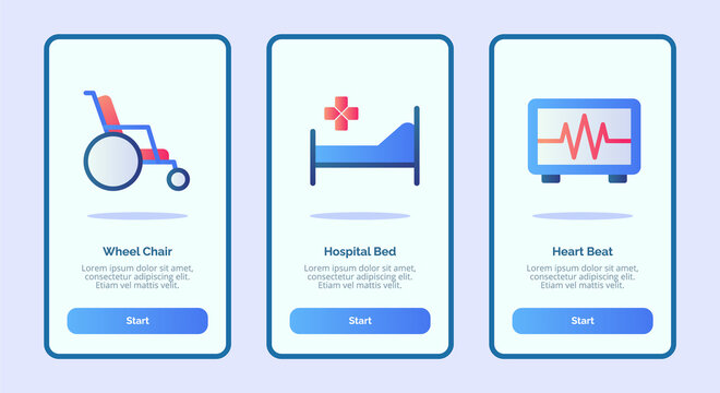 Medical icon wheel chair hospital bed heart beat for mobile apps template banner page UI with three variations modern flat color style.