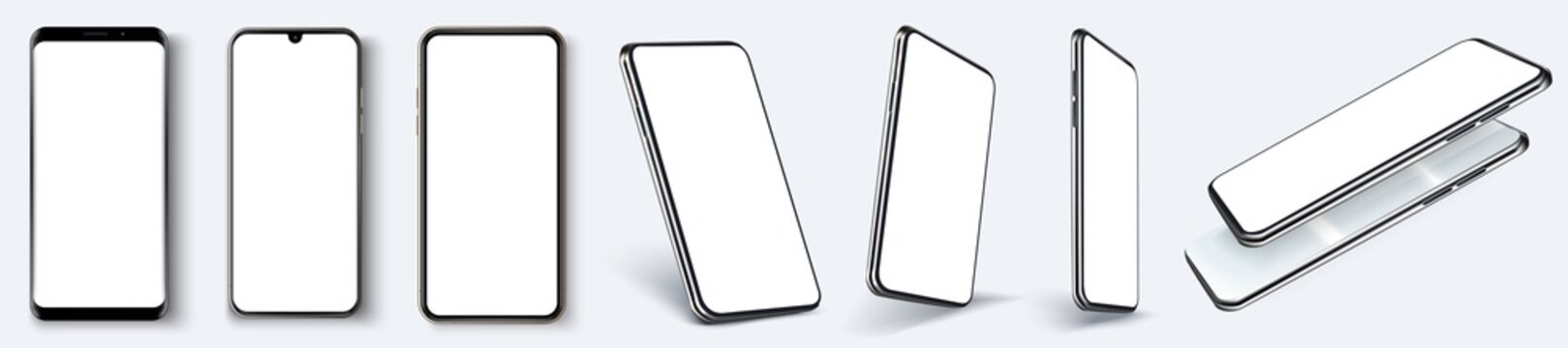 Cellphone frame with blank display isolated templates, phone different angles views. Mockup smartphone device collection with thin frame and blank screen isolated. Vector template app or ux design.