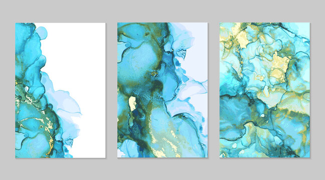 Luxury blue, teal and gold marble abstract background set. Alcohol ink technique vector stone textures. Creative paint in natural colors with glitter. Backdrop for banner, poster, invitation design