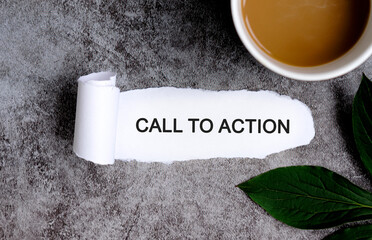 Call To Action with cup of coffee and green leaf