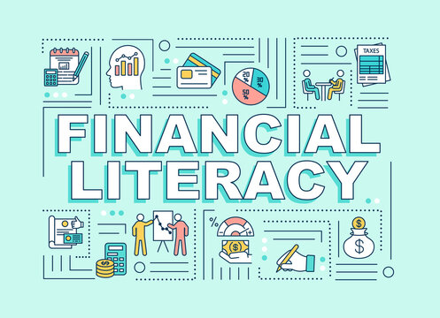 Financial literacy word concepts banner. Banking analytics. Infographics with linear icons on mint green background. Isolated typography. Vector outline RGB color illustration