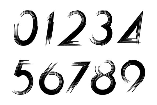 Set of grunge numbers isolated on a white background.