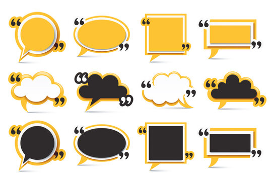 Yellow quote box frame. Square message tag, callout label frames and speech cloud bubble isolated vector illustration set