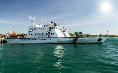 Coast Guard ship at anchor in Phu Quoc Island, Vietnam - December 16, 2014