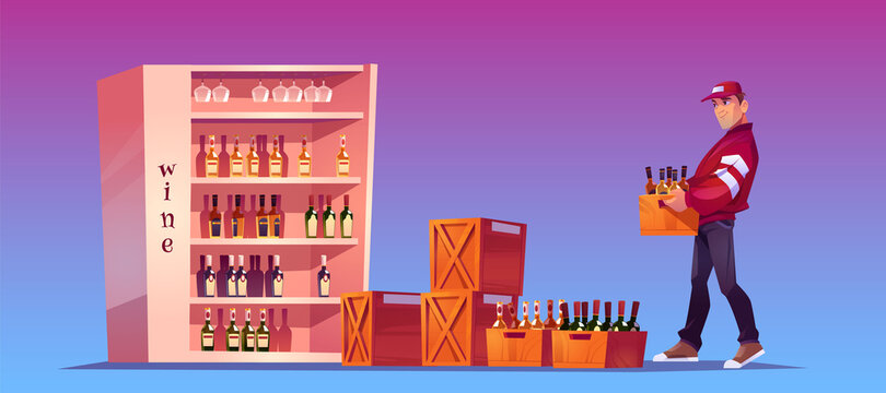 Loader carries box with bottles to store, shop storage or bar. Delivery alcoholic drinks. Vector cartoon illustration with man holding wooden crate with wine and glass bottles on stand