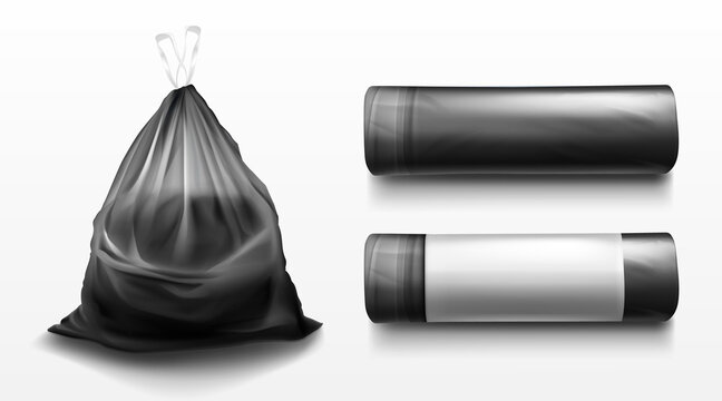 Black plastic bag for trash, garbage and rubbish. Vector realistic mockup of polyethylene trashbag in roll and full of waste. Tied sack with refuse isolated on transparent background
