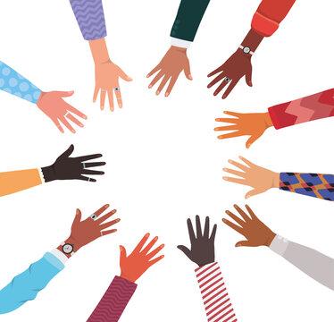 diversity of hands skin in circle vector design