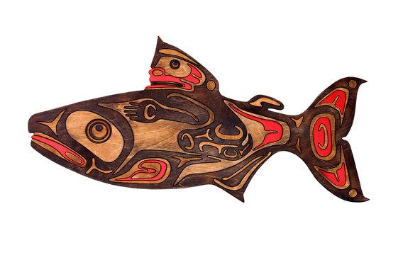 Salmon. Handmade home décor.  Plywood, laser cut
