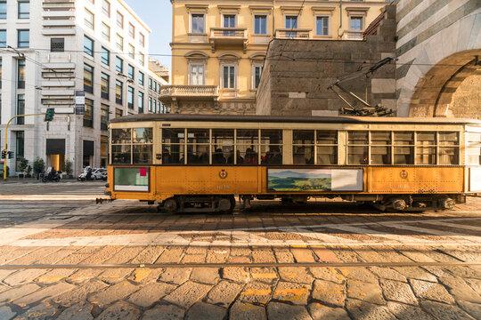 Old tram at Archi di Porta Nuova, Alessandro Mansioni Street in Milano