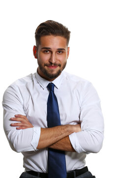 Handsome smiling adult bearded brunette caucasian person wearing glasses and shirt look in camera headshot isolated over white background. White collar guy dress code modern lifestyle joy concept