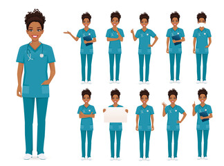 Female african woman nurse character set in different poses isolated vector illustartion