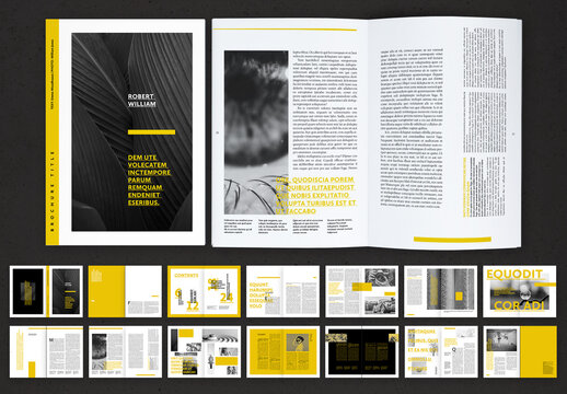 Editorial Brochure Layout with Yellow Accents