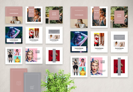 Fashion Social Media Stories, Square Vertical Photo Posts Layout Set