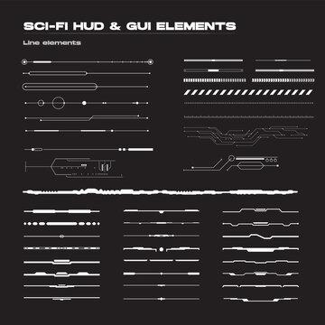 Abstract futuristic sci-fi concept user interface HUD. Vector set of linear techno futuristic vector graphic elements.