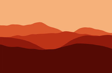 Mountains in the haze at sunset - Vector illustration