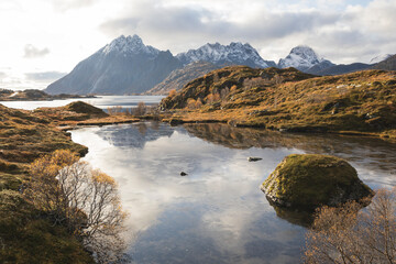 calm lake in autumn in the lofoten islands with snowy mountains Fotobehang