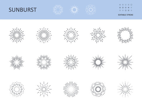 Sunburst icons. Vector symbols sun with rays. Editable stroke. Circular logo with radial lines. Sunrise, starburst abstract design elements. Shining lines on the horizon