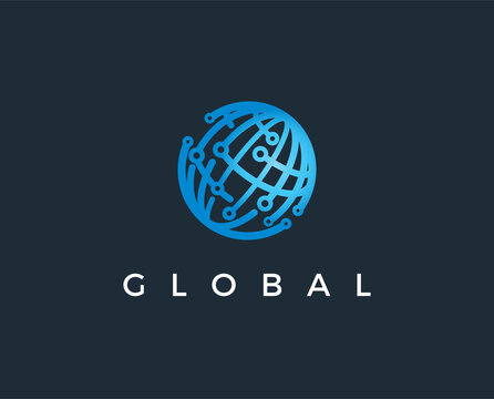 minimal global logo template - vector illustration
