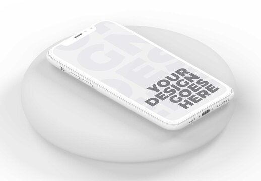 White Clay Smartphone Laid on Light Gray Circle with Isometric View