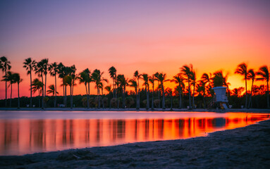 sunset at the beach florida colors beautiful palms reflections