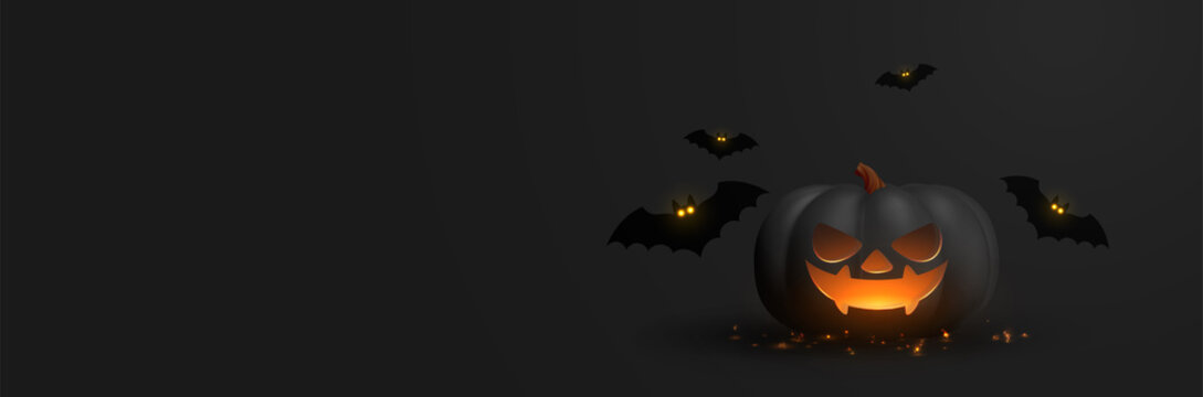 Happy Halloween banner. Festive background with realistic 3d black pumpkins with cut scary smile and flying bats. Horizontal holiday poster, header for website. Vector illustration