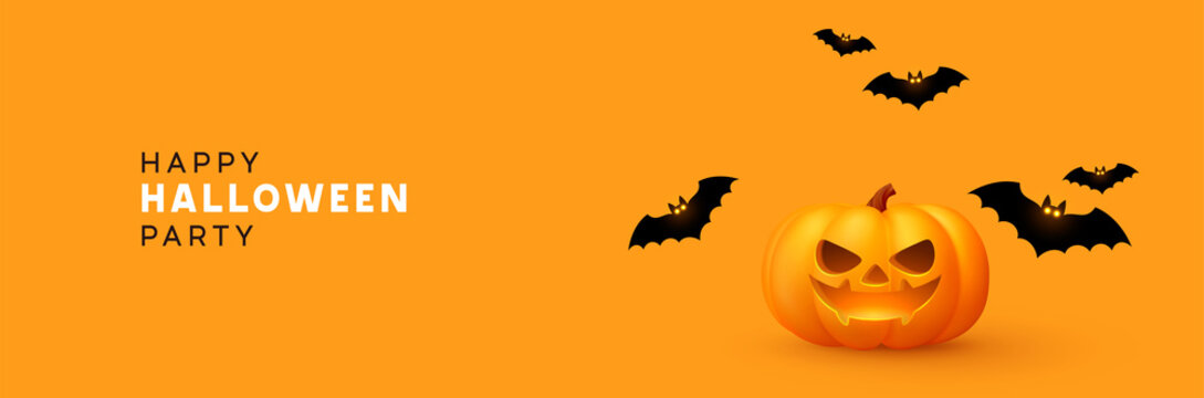 Happy Halloween banner. Festive background with realistic 3d orange pumpkins with cut scary smile and flying bats. Horizontal holiday poster, header for website. Vector illustration