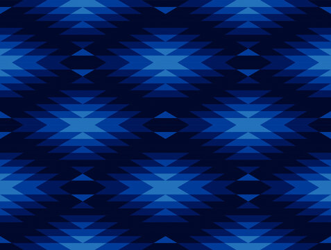 Tribal and ethnic pattern in blue geometric triangle, seamless vector abstract background for fashion